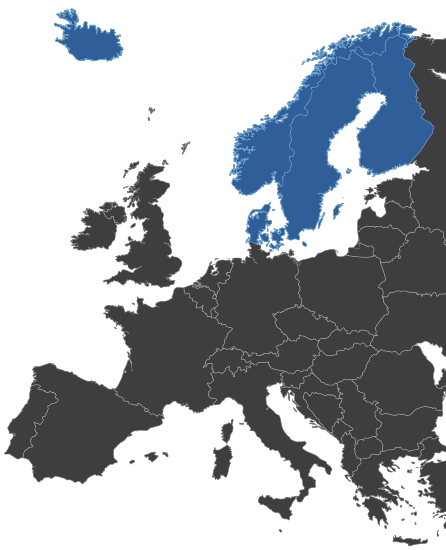Map highlighting the Nordic countries Meliora works in